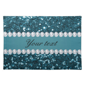 Dark Teal Blue Faux Glitter and Diamonds Placemat