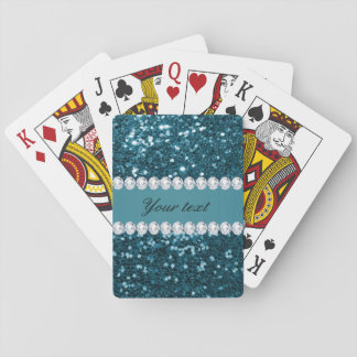 Dark Teal Blue Faux Glitter and Diamonds Playing Cards