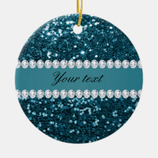 Dark Teal Blue Faux Glitter and Diamonds Round Ceramic Ornament