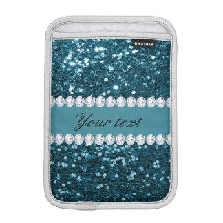 Dark Teal Blue Faux Glitter and Diamonds Sleeve For iPad Mini
