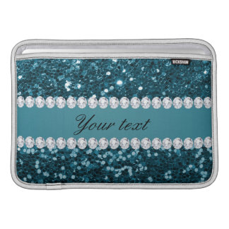 Dark Teal Blue Faux Glitter and Diamonds Sleeve For MacBook Air