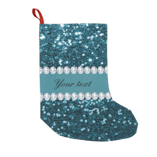 Dark Teal Blue Faux Glitter and Diamonds Small Christmas Stocking