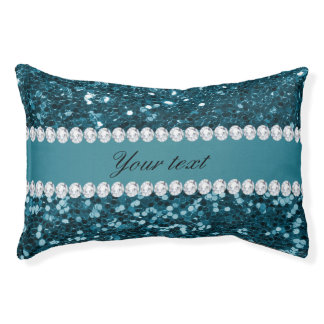 Dark Teal Blue Faux Glitter and Diamonds Small Dog Bed