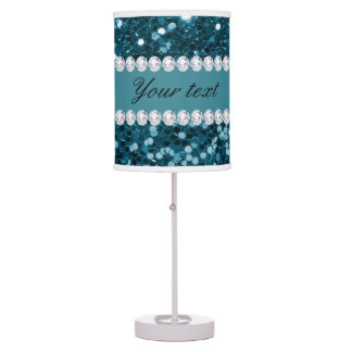 Dark Teal Blue Faux Glitter and Diamonds Table Lamp