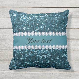 Dark Teal Blue Faux Glitter and Diamonds Throw Pillow