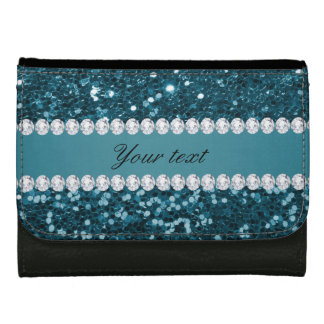 Dark Teal Blue Faux Glitter and Diamonds Wallet
