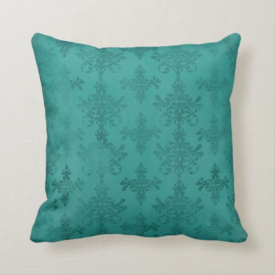 dark teal blue green distressed damask throw pillow