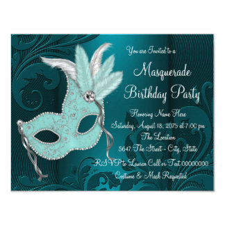 Dark Teal Blue Masquerade Party Card