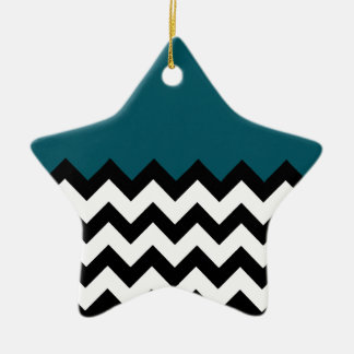 Dark Teal Blue Pattern On Large Zigzag Chevron Ceramic Ornament