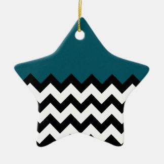 Dark Teal Blue Pattern On Large Zigzag Chevron Ceramic Star Ornament