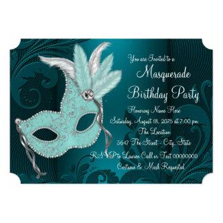 "Dark Teal Blue Sweet 16 Masquerade Party 5"" X 7"" Invitation Card"