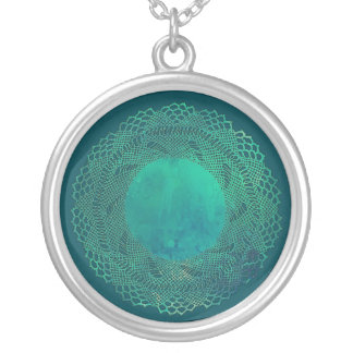 Dark Teal Crochet Lace Doily Necklace