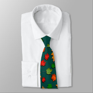 Dark Teal Fall Leaves Seasonal Mens Tie