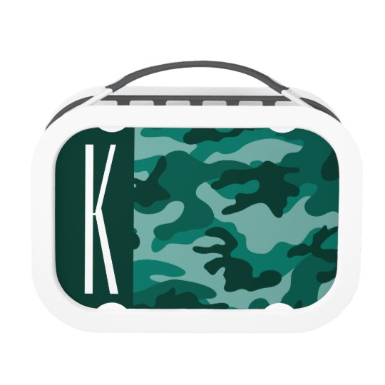 Dark Teal Green Camo; Camouflage Lunch Boxes