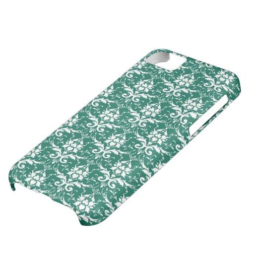 Dark Teal Green Damask Pattern iPhone 5C Case