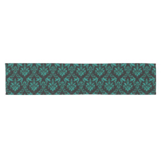 Dark Teal Green Damask Print Table Runner