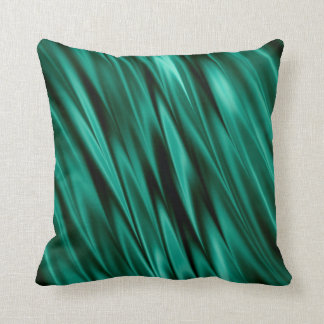 Dark teal green satin waves throw pillow