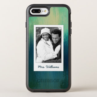 Dark Teal Paper Art Texture | Add Photo OtterBox Symmetry iPhone 7 Plus Case