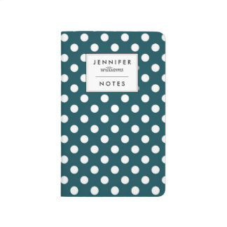 Dark Teal Polka Dots Personalized Journal