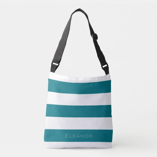 Dark Teal Striped with Name or Monogram Set Crossbody Bag
