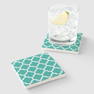 Dark Teal White Moroccan Quatrefoil Pattern #5 Stone Coaster