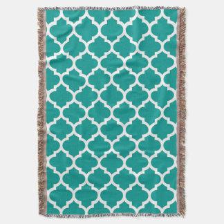 Dark Teal White Moroccan Quatrefoil Pattern #5 Throw Blanket