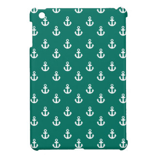 Dark Teal White Ships Anchors Pattern Cover For The iPad Mini