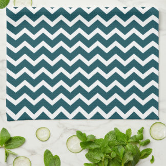 Dark Teal Zig Zag Chevrons Pattern Kitchen Towel