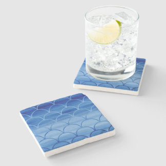 Dark to Light Blue Scale Pattern Stone Coaster