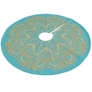 Dark Turquoise Blue Green Mandala Star Pattern Fleece Tree Skirt