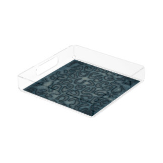 Dark Turquoise Cheetah Abstract Serving Tray