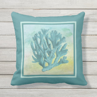 Dark Turquoise Coral Branch Outdoor Pillow