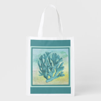 Dark Turquoise Coral Branch Reusable Grocery Bag