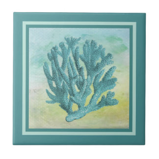 Dark Turquoise Coral Branch Tile