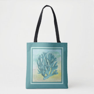 Dark Turquoise Coral Branch Tote Bag