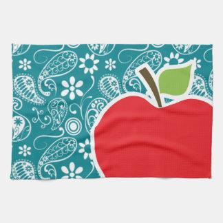 Dark Turquoise Paisley; Apple Towel