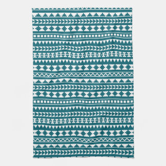 Dark Turquoise Tribal Aztec Pattern Kitchen Towel