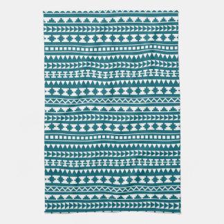 Dark Turquoise Tribal Aztec Pattern Towel