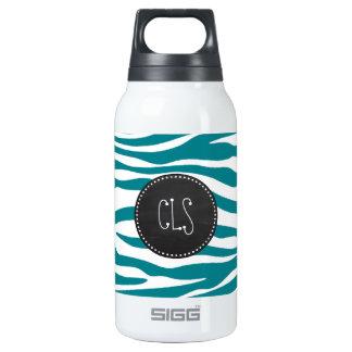 Dark Turquoise Zebra Stripes; Chalkboard Insulated Water Bottle