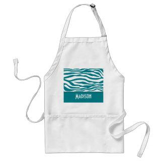 Dark Turquoise Zebra Stripes; Personalized Aprons