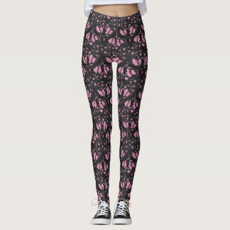 Dark Vines ~ Black and Pink Leggings