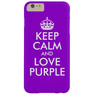 Dark Violet and White Keep Calm and Love Purple Barely There iPhone 6 Plus Case