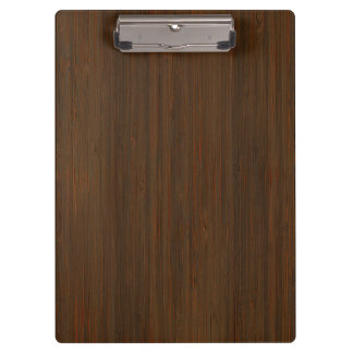 Dark Walnut Brown Bamboo Wood Grain Look Clipboard