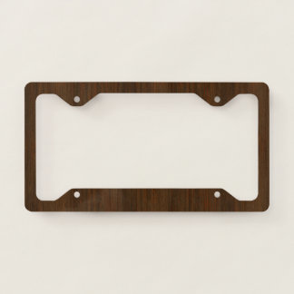 Dark Walnut Brown Bamboo Wood Grain Look License Plate Frame
