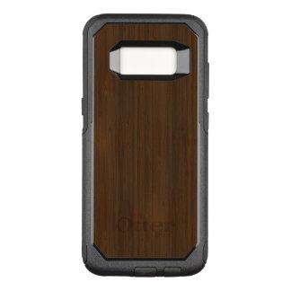 Dark Walnut Brown Bamboo Wood Grain Look OtterBox Commuter Samsung Galaxy S8 Case