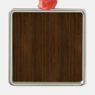 Dark Walnut Brown Bamboo Wood Grain Look Silver-Colored Square Ornament