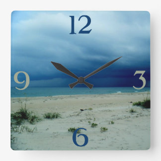 Dark Waters Beach Photo Square Wall Clock