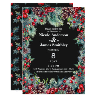 Dark Winter Wedding Holiday Berries & Pine Cones Card