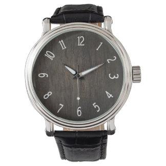 Dark Wood Black Leather Strap Watch