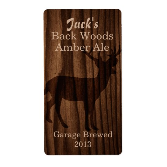 Dark Wood & Deer Silhouette Home Brew Beer Label Shipping Label